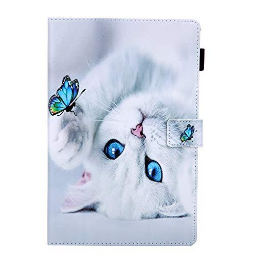 Coopay - Funda de piel sintética para tablet Samsung Galaxy Tab A 10.1 2019 SM-T510/T515, diseño de gato blanco y mariposa, color azul