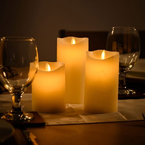 Flameless LED Candles Battery Operated Real Wax Flickering Flame Set of 3 Christow