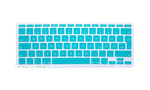 German Language For Macbook Air 11' 11.6 Inch A1465/A1370 Germany Fonts Silicone EU UK Keyboard Cover Skin Sticker Protector-whiteblue
