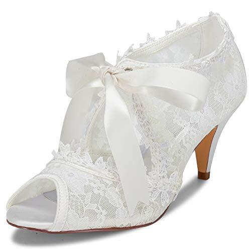 JIA JIA Scarpe da Sposa da Donna 5949419 Peep Toe Cono Heel Satén de Encaje Zapatillas Corbata Scarpe da Sposa Colore Avorio, Taglia 40 EU