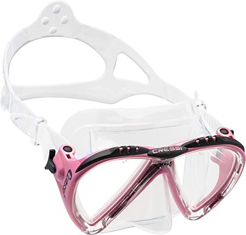 Cressi Lince Low Volume Tauchmaske Made In Italy Gafas de Buceo, Mujer, Transparente/Rosa, Talla única