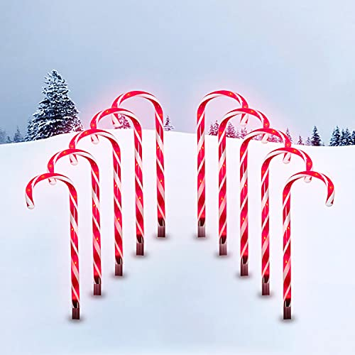 Christmas Candy Cane Lights, 10 Pack 21' Candy Cane Pathway Lights (with Stakes) Outdoor Markers Christmas Decorations Lights with 8 Lighting Modes, for Xmas Holiday Party Walkway Patio Garden Decor