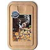 Tabla de cortar de madera, 45 cm x 30 cm, con surco y bandeja...