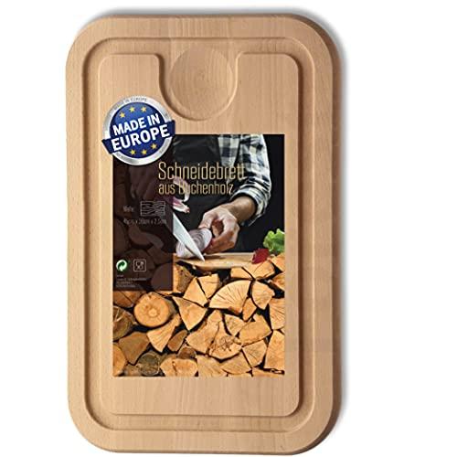 Tabla de cortar de madera, 45 cm x 30 cm, con surco y bandeja recogedora, tabla de madera de haya maciza de Europa, sin bambú, tabla de cocina y bloque para cortar