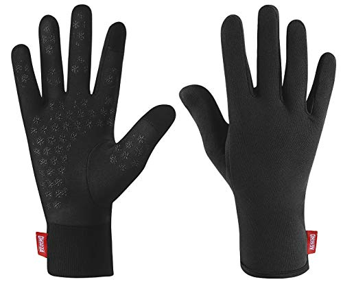 Aegend Upgraded Lightweight Running Gloves Warm Touchscreen Compression Mittens Liners Gloves Men Women with Elastic Cuff Cycling Driving Sports Gloves for Winter, Medium