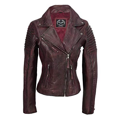 Xposed Chaqueta de motociclista para mujer, estilo vintage, ajustada, suave...