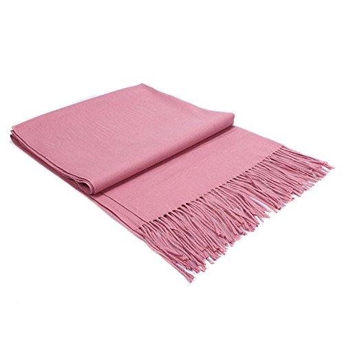 Pulchram Unisex Schal Quaste Halstuch aus Cashmink ultra Weich für Damen & Herren, Herbst- Und Winterschals Reine Farbe Nachahmung Schals (Mauve rot)