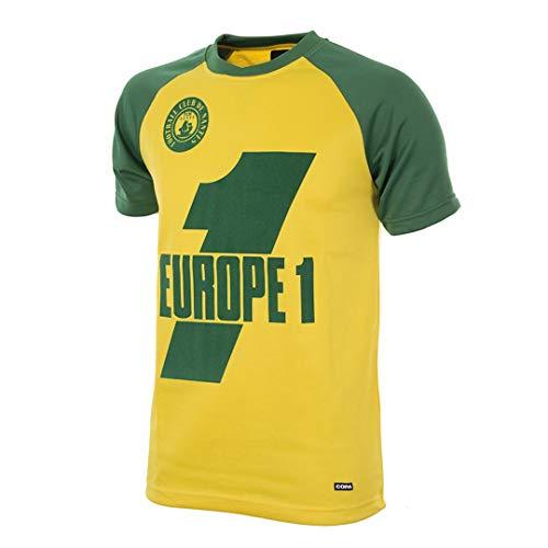 Copa Camiseta de fútbol Retro del FC Nantes 1978-79 para Hombre, Hombre, Camiseta de Cuello Redondo Retro de fútbol, 231, Verde y Amarillo, M