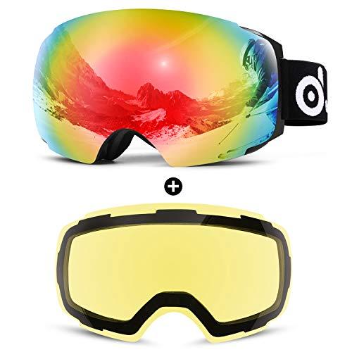 Odoland Magnetic Interchangeable Ski Goggles with 2 Lens, Large Spherical Frameless Snow Goggles for Men & Women, OTG and UV400 Protection - VLT 18% Red +83% Yellow