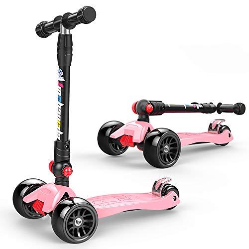 ZYCWBW Roller Für Jungen Und Mädchen, 3-Rad-Kinder-Roller, Kleinkind-Roller Mit Einstellbarer Höhe, Kick-Roller, Mehrfarbiges LED-Leuchtrad Kindergeschenk Outdoor-Spielzeug,Rosa