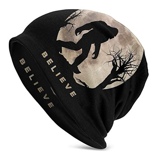 TOLUYOQU Funny Bigfoot Sasquatch Full Moon Slouchy Beanie for Men Women - Unisex Cuffed Plain Baggy Skull Cap Summer Winter Warm Daily Beanie Knit Hat