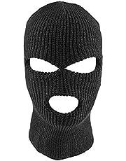 Bweele OTentW Máscara de la Cara Completa Máscara de Punto de pasamontañas de 3 Agujeros Sombrero de Estiramiento de Invierno Máscara de Nieve Gorro Gorro Nuevo Máscaras faciales Negras cálidas