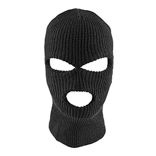 Bweele Máscara de la Cara Completa Máscara de Punto de pasamontañas de 3 Agujeros Sombrero de Estiramiento de Invierno Máscara de Nieve Gorro Gorro Nuevo Máscaras faciales Negras cálidas