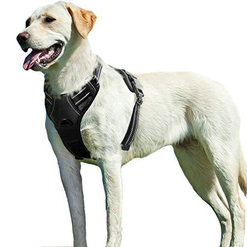 Eagloo Hundegeschirr Geschirr für Große Hunde Anti Zug Mittelgroße Brustgeschirr No Pull Sicherheitsgeschirr Auto Dog Harness Labrador Welpengeschirr Joggen Ausbruchsicher Weich Gepolstert Schwarz XL