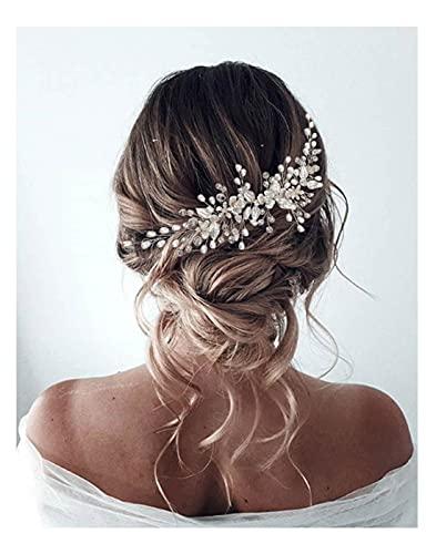 Unicra Kopfschmuck Haarschmuck Braut Hochzeit Perlen Strass Damen Mädchen (Silber)
