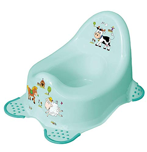 Premium Töpfchen Funny Farm aquamarin für Babys und Kinder stabiler Babytopf mit Anti-Rutsch-Funktion