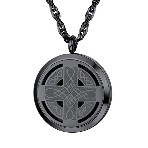 PROSTEEL Diffuser Necklace Celtic Knot Cross Locket Aromatherapy Round Pendant Women Jewelry Men Essential Oil Black Necklaces