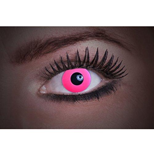 Eyecatcher Flash Pink Color Fun, farbige UV-Kontaktlinsen / Motivlinsen, leuchten bei Schwarzlicht, 1er Pack (1 x 2 Stück)
