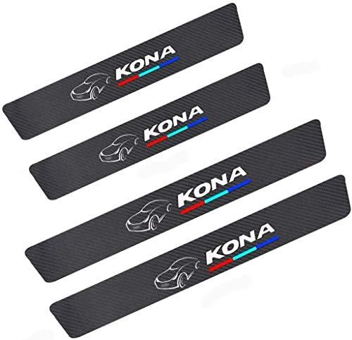 Para Hyundai Kona All Models, Decoración Pegatina para Estribos, Protección de Pedal de umbral, Faldones Laterales Fibra de Carbono, Evitar el Desgaste