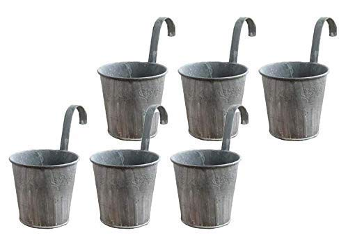 Cratone 6 Pack Flower Pots With Hooks Metal Hanging Flower Planter Retro Gray Fence Flower Pot for Outdoor Balcony Wall Decor Diameter 4.33in (6 Pack)