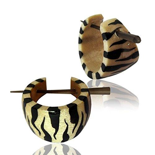 CHICNET Tiger Holzcreolen weiß schwarz Pin-Ohrringe Pin-Creolen Holz Horn Pin handbemalt 16 mm