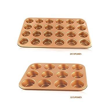 Combo 24 & 12  DEEP CUP Muffin Tin Cupcake Muffin Pan Non Stick COPPER Cupcake Pan Tray Bakeware Mould Bake mini and large giant Cupcake Pan