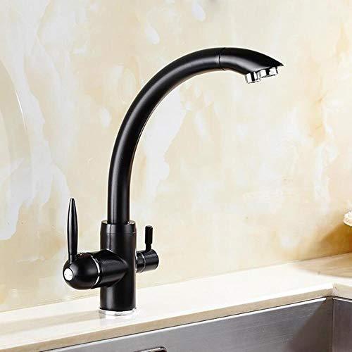 Giratoria Agua Potable grifos de la cocina rotación de 360 grados con la purificación del agua Características manija del doble de Tri filtro flujo de 3 vías, negro
