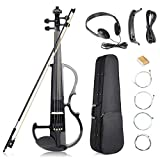 Vangoa Full Size 4/4 Solid Wood Electric Silent Violin with Chin Rest, Ebony Fittings, Carrying Hard Case, Extra Strings, Audio Cable, Rosin, Bow, Black