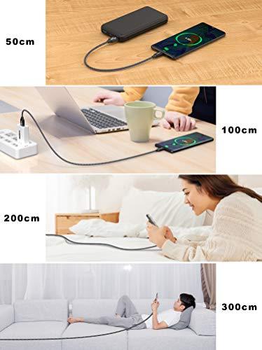 USB C Kabel [4 Stück 0.5M+1M+2M+3M] Ladekabel Typ C und Datenkabel Fast Charge Sync Schnellladekabel für Samsung Galaxy S10 S9 S8 Plus Note 10 9 8 A3 A5 2017, Huawei P10 P20 lite, HTC 10 U11, LG G5 G6