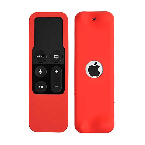 Ellenne Funda protectora de silicona para mando a distancia, carcasa fina, compatible con Apple TV 4ª generación (rojo)