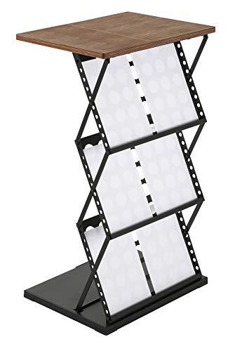 DISPLAY SALES Stehpult Prospektständer 6 x DIN A4 schwarz Lochdesign | Mobile Falttheke aus Metall mit Holzplatte und Ablagefächern für Kataloge Flyer Prospekte