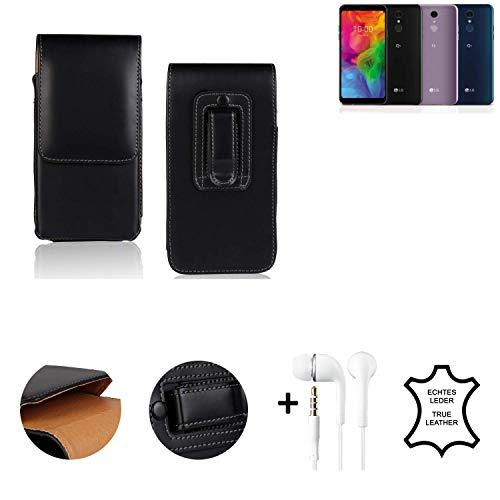 K-S-Trade® Leder Gürtel Tasche + Kopfhörer Für LG Electronics Q7 Alfa Seitentasche Belt Pouch Holster Handy-Hülle Gürteltasche Schutz-Hülle Etui Schwarz 1x