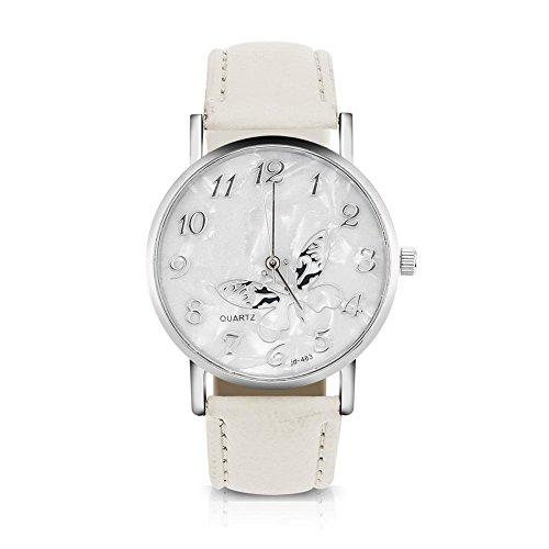 Sonew Reloj de Cuarzo de Las Mujeres Reloj de Pulsera analógico Femenino Redondo Correa de Cuero de la PU Reloj de diseño de Mariposa Simple de la Manera(White)
