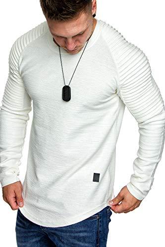 Amaci&Sons Oversize Vintage Herren Pullover Biker-Style Hoodie Sweatshirt Crew-Neck 6069 Weiß M