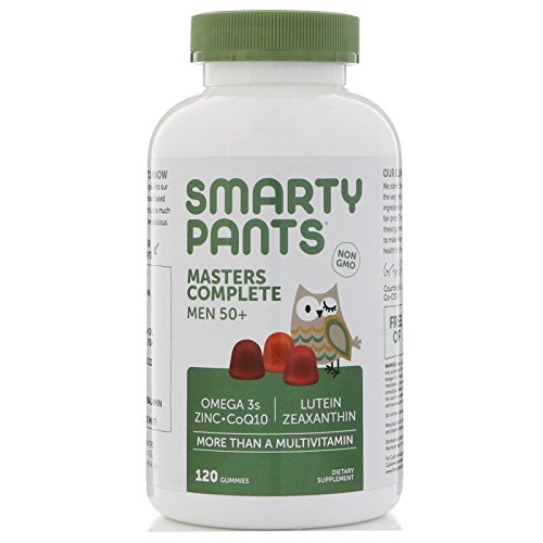 SmartyPants Men's Masters Complete 50+ Daily Vitamins: Gluten Free, Multivitamin, Lutein/Zeaxanthin for clinically-Proven Eye Health*, CoQ10, Omega 3 Fish Oil, Folate, 120 Count (30 Day Supply)