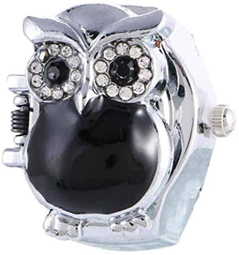 Owl Finger Watch Clamshell Ring Watch Special Owl Finger Watches Ring Mujeres Relojes Quartz Fashion Men Retro Finger Watch Rosa-Negro