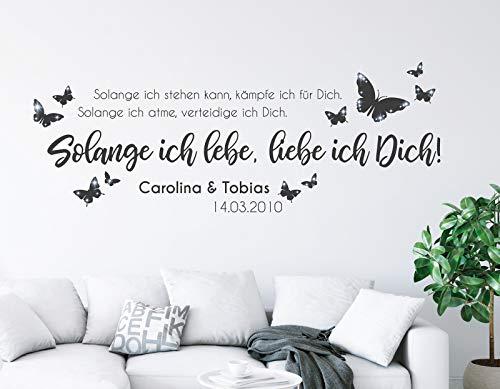 tjapalo® pkm488 Wandtattoo Wohnzimmer liebe mit namen Wandsticker liebe Wandtattoo liebessprüche Wandtattoo liebe mit namen, Farbe: Schwarz, Größe: B100xH36cm