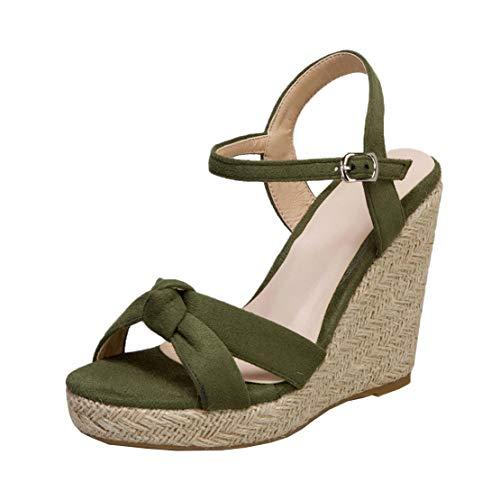 MISSUIT Damen Espadrilles Wedges High Heels Riemchen Sandaletten mit Keilabsatz Plateau Offene Zehen Sommer Schuhe(Grün,44)