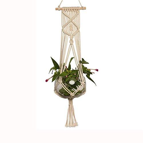 SYART 1pc grote plantenhouder mand handgemaakte touw plant lanyard potten houder fijn hennep touw net bloempot