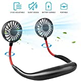 Portable Hanging Neck Sports Fan - Hands Free USB Rechargeable Personal Wearable Neckband Fan Battery Operated with 3 Level Air Flow Headphone Design Cooling Head Fan Mini