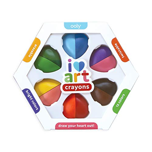 OOLY, I Heart Art, Erasable Crayons, Twistable Kids Coloring Kit, 12 Bright Colors - Ages 3+