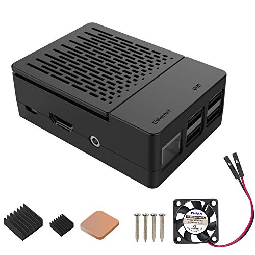 iUniker Raspberry Pi 3 B+ Case, Raspberry Pi Fan ABS Case with Cooling...