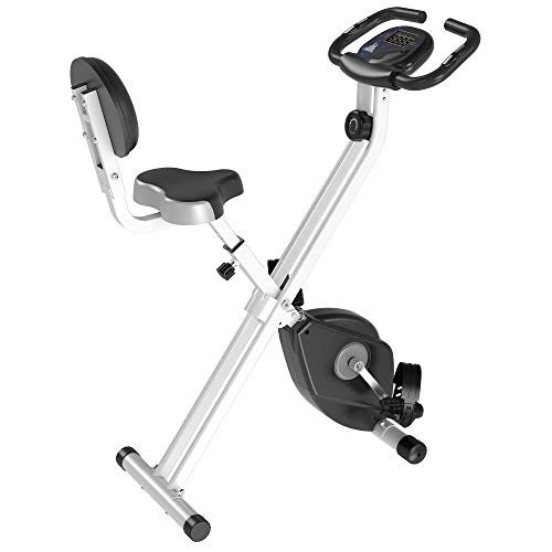 Soozier Foldable Upright Training Exercise Bike Indoor Stationary X Bike with 8 Levels of Magnetic Resistance for Aerobic Exercise, Grey