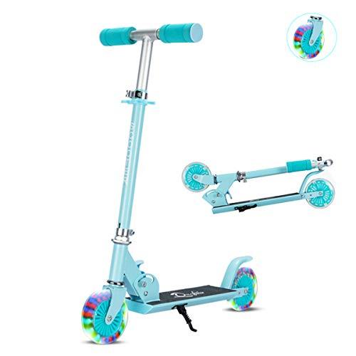 Sumeber Scooter Roller Kinder Klappbar Kick Scooter mit LED Light Up PU-Rädern Höhenverstellbarer Kinderroller Cityroller für Mädchen und Jungen als Geburtstagsgeschenk (Blue)