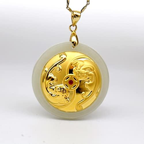 DAJIA Collar de Jade Hetian Blanco Natural 24 K Oro Doble Tropas Valientes Hombres Mujeres Colgantes Finos de la Suerte bendición joyería Masculina Femenina