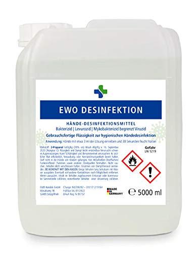 Ewo 5L Kanister Desinfektionsmittel für Hände zur hygienischen Händedesinfektion gem. WHO - begr. viruzid 5000ml