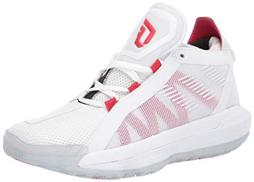 adidas Dame 6 J Sneaker, ftwr White/scarlet/core Black, 4 M US