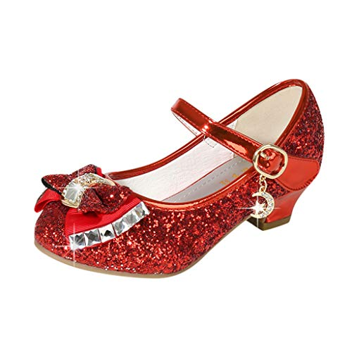 Little Girls Kids Princess Dress Shoes Sandals Wedding Party Low Heeled Kids Mary Jane Crystal Bling Bowknot Single Shoes (Red, 6.5-7Years Little Kid)