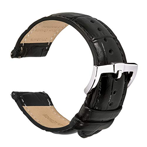 Correas de Reloj de Grano de Cocodrilo - Correa de Reloj de Cuero Genuino de Grano Superior de Liberación Rápida 18mm 20mm 22mm para Hombres y Mujeres - Correas de Reloj de Repuesto Acolchadas