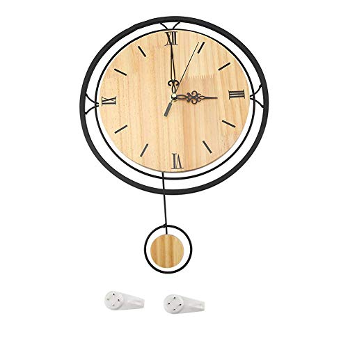 KEKEYANG Reloj de Pared de, Retro Romano Colgantes del Reloj, Columpio de Madera colgados de la Pared del Reloj de Pared del Cuarzo del Reloj de Silencio del Ministerio del Interior Room Decor